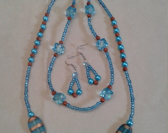 Blue and bronze glass bead necklace