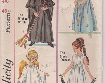 ON SALE 1970's Sewing Pattern - Simplicity 6201 Children's Wicked Witch, Good Fairy, Greek Goddess, Little Angel, Size 12-14 Cut Complete