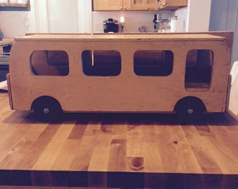 Vintage mid century  wooden ride on toy bus