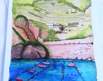 Cinque Terre Italy watercolor illustration landscape flat note card