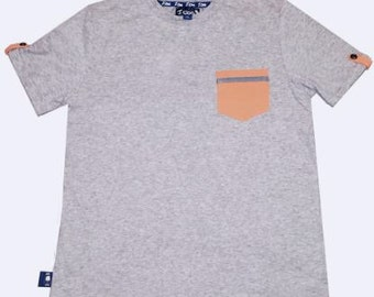 Boys heather grey cotton spandex Tee shirt