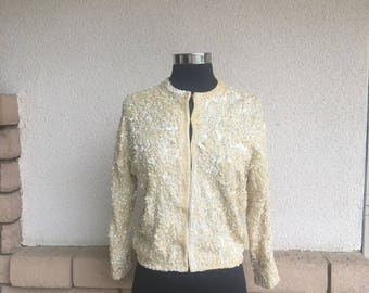 50s 60s Shimmery Sequin Pinup Cardigan Sweater