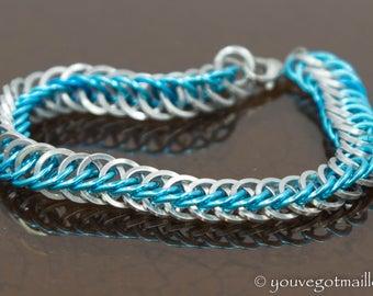 Half Persian Aqua Chainmaille Bracelet