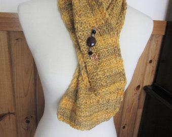 Handknit Alpaca Short Scarf from Handpainted Alpaca Yarn w/Complimentary Scarf Pin