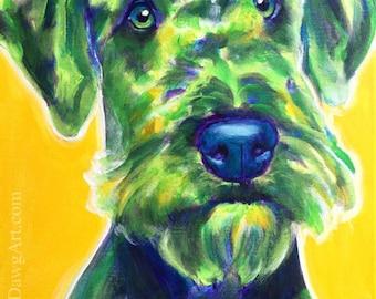 Airedale Terrier, Pet Portrait, DawgArt, Dog Art, Airedale Art, Original Painting, Pet Portrait Art, Colorful Dog Art, Airedale  Painting