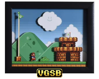 Super Mario All Stars Shadowbox - The Castle - SNES - Super Nintendo - 3D Shadow Box Glass Frame - 12x10 - Birthday Gift - 3d Game Art