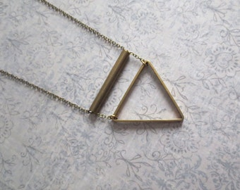 Dodecanese - Long Brass Triangle Necklace with Geometric Pendants (Collier Géométrique) by InfinEight