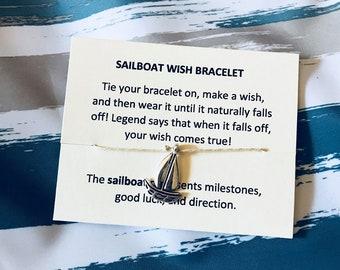 Sailboat Wish Bracelet - Silver Sailboat - Nautical Favors - Bridal Shower - Ocean Jewelry - Sailboat Jewelry - Bulk Bracelets - Bulk Gifts