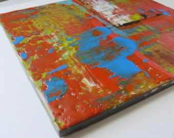 Untitled 2017, Elle Sems, original, wax encaustic, 6x6, abstract painting