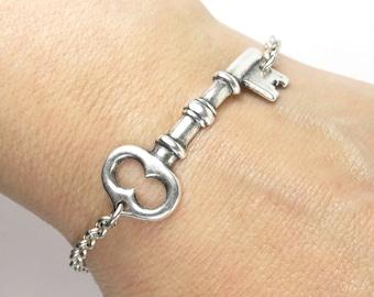 Key Bracelet Medium Key Sterling Silver Ox Finish