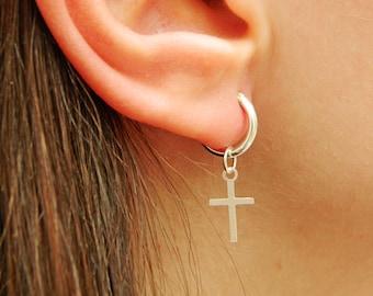 Cross Sterling Silver Hoop Earrings - Silver Hoop Earrings - Tiny Hoop Earrings - Hoop Earrings - Small Hoop Earring - Silver Hoop Tiny,022H