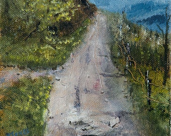 Original Miniature 6 X 6 inch Impressionism Oil Painting on Stretched Canvas BRJ (unframed)