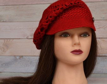 Crochet Brim Cap Beret with a visor Textured Mesh Slouchy Cap  all season Knit Cap for women teens Red&different colors for order
