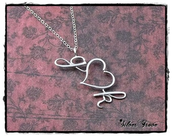 Lover's Pendant Sterling Silver Personalized Calligraphy Script Initial Heart Pendant Necklace with Chain Wire Jewelry SilverTrove