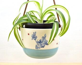Hanging planter - medium - turquoise