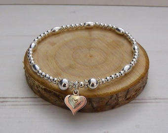 Sterling Silver Stretch Stacking Bracelet with Double Heart Charm