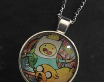 Adventure Time Glass Dome Pendant Necklace in a silver setting on a matching chain