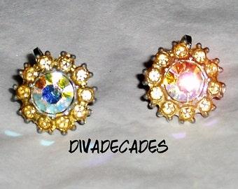 Vintage earrings , screw on earrings , vintage crystal jewellery , cluster earrings , vintage rhinestone earrings , 50s jewellery , goldtone