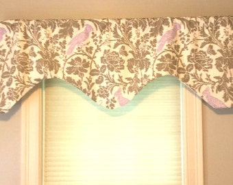 """Floral Scalloped Curved Window Valance -  Premier Prints Fabric - Bird Floral Valance -  51""""  x 18""""  Sateen Lining - Kitchen -Bedroom - Bath"""