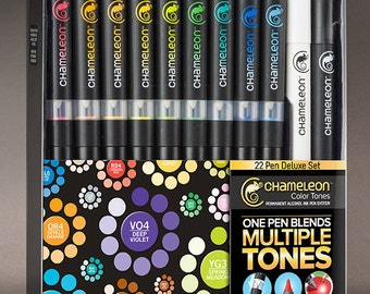 New Chameleon Markers / Chameleon Pens - Deluxe Alcohol Pen Set - 22 Alcohol Pens with US **Priority Shipping Included**