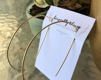 Half Hoop Open Hammered Gold Wire Earrings