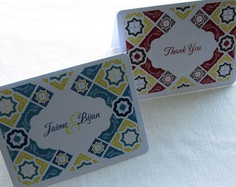 Mexican Tile Thank You Card - Note Card Gift Set of 10