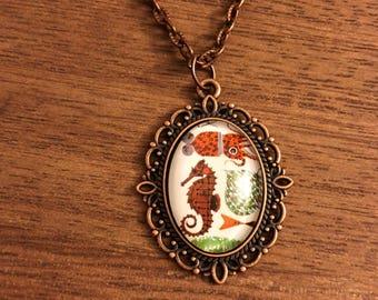 Sea Horse & Squid sea life copper and glass cameo pendant handmade necklace