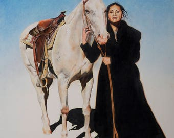 Native women and her trusted horse.