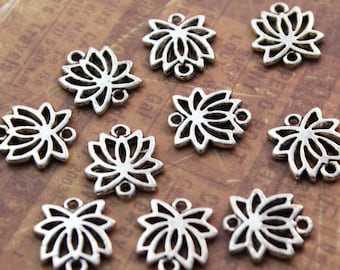 10 Lotus Flower charms Lotus Flower Connectors Antiqued Silver Tone Doubled sided 14 x 15 mm