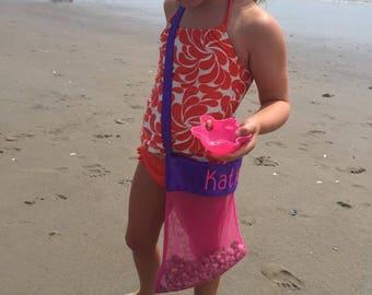 Personalized sea shell bags, pool toy bag. Mesh sea shell bag.