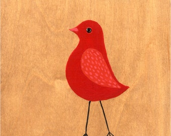 Red Ruby Bird art print - archival fine art print - Nursery decor