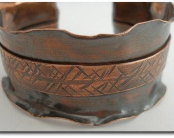 Ruffled Copper Cuff Bracelet