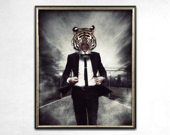 Tiger Print, Tiger Art, Anthropomorphic Art, Weird Art, Wall Art, Animal Art, Dark Art, Quirky, Human Animal, Alternative Art, Home Decor