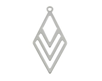 2 Rhombus pendant stainless steel 40mm charms