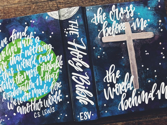 Hand painted bible, personalized gift, custom bible cover, global design, bible journaling, C.S. Lewis quote, gift for missionary, for men