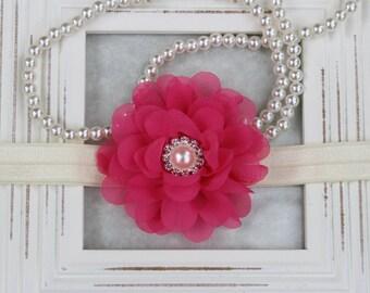 Baby headband, hot pink headband, flower headbands, baby girl headband, baby pink headband, newborn headband, baby shower gift