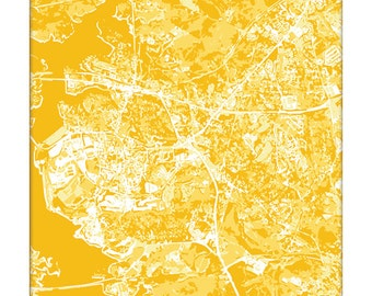 Clemson Cityscape Map Print / Clemson University Poster Art Wall Print / 8x10 Grad Gift / Dorm Decor