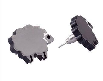 Black Sheep Stud Earrings,Plexiglass Jewelry,Lasercut Acrylic,Gifts Under 25