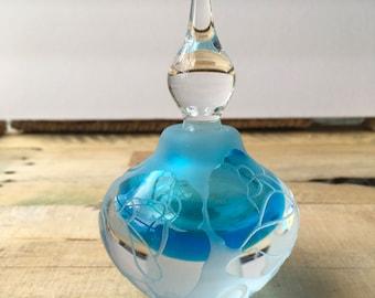 Vintage Rose Perfume Bottle - Teal Blue