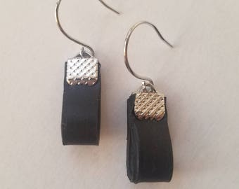 Bike Tube Earrings-/ Upcycled / Recycled Bike Tire Parts / Vegan Leather / Black, Modern Geometric / Eco-Friendly / Gift