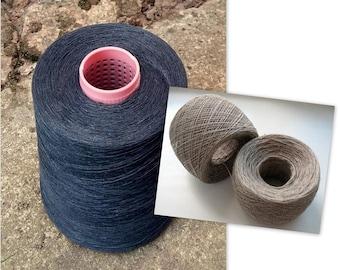 Linen Yarn 3.53 oz (100 g) 1 ply in balls Dark Gray Blue