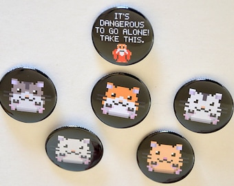 Pixel Hamster Button / It's Dangerous To Be Alone Pinback Button