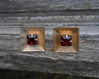 Vintage Red Stone Cufflinks. Gift For Dad, Groom, Groomsmen, Wedding, Anniversary, Christmas, Birthday, Father's Day.