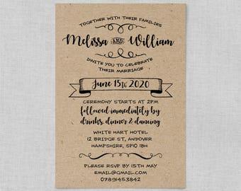 Rustic wedding invitations cheap, Kraft wedding invite suite, Rustic country wedding invitations, DIY printable wedding invitation kits