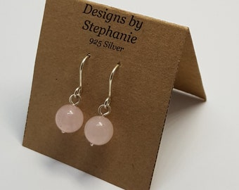 Rose Quartz dangle drop earrings, 925 sterling silver, baby pink, powder pink, short drop earrings. Designs by Stephanie
