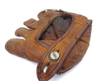 vintage leather Hutch baseball glove oil treates antique catchers mit antique baseball glove vintage sporting goods antique sports