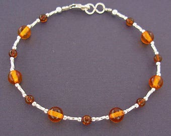 Amber Anklet - Amber Ankle Bracelet in Sterling Silver - Sizes Small to Large Size or Plus Size Anklet - Small to Plus Size Ankle Bracelet