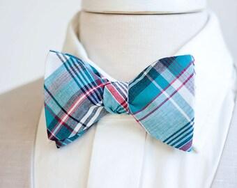 Bow Ties, Bow Tie, Bowties, Mens Bow Ties, Freestyle Bow Ties, Self-Tie Bow Ties, Ties, Plaid Bowties, Plaid Ties - Navy, Blue, Red Plaid