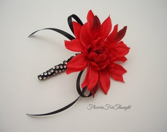 Dahlia Boutonniere, Red, Black, Mens Wedding Flower Pin