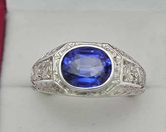 AAAA  Created Blue Sapphire 10x8mm 3.52 Carats Heavy 14K White gold Antique Vintage  styled MAN'S ring 15 grams. 1558(2)